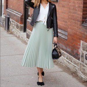 H&M High Waisted Maxi Pleated Skirt - Mint green
